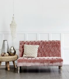 10 Beautiful Rooms - Mad About The House: pink velvet couch by Lene Bjerre