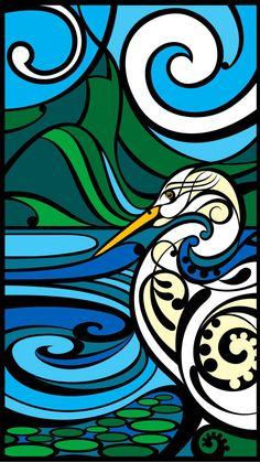 Shane Hansen Piopiotahi Kotuku Print Art NZ