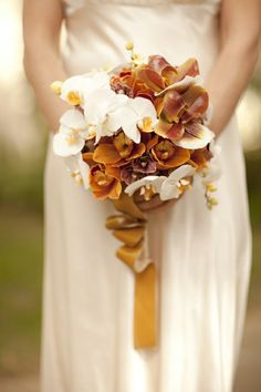 orange and cream fall orchid wedding bouquet Orchid Bouquet Wedding, Gold Bouquet, Bridal Bouquet Fall, Fall Wedding Bouquets, Fall Wedding Colors, Bridal Flowers, Autumn Wedding, Floral Wedding, Fall Bouquets