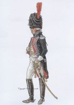 French; Carabiners de Paris, Officer, December 1804 by P.Courcelle