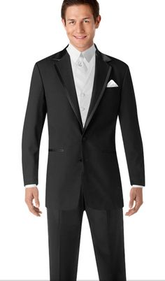 Groom wedding look - Tux: Wilke-Rodriguez Two-Button Black Satin Edge Notch Lapel style 1892 & Pleated Pants; Vest: Bella Luna White style 8853BLWHT; Shirt: White Pleat Point Collar style 5752; Accessories: White Pocket Silk style 8501WHT  This black tux, the jacket and the pants