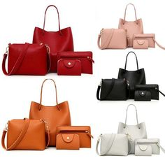 4Pcs Women Pattern Leather Handbag+Crossbody Bag+Messenger Bag+Card Package. Luxury Handbags, Purses And Handbags, Leather Handbags, Leather Bags, Leather Totes, Fashion Handbags, Tote Handbags, Crossbody Wallet, Satchel Purse