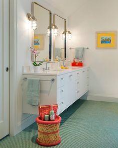 A fun bath for 3 teenage girls! Penny rounds add a peppy punch #lucyinteriordesign #lucylovescolor #instalucy . . . . #bathroom #bathroomdecor #modernbath #vanity #pennyrounds #homedecore #homedecoration #floatingvanity #whitebathroom #turquoise #nautical #shiplights #mirrors #style #vignette #interiors #interiordesign #jackandjillbathroom @swanarchitecture Elevation Homes @spacecrafting_photography