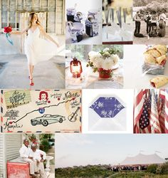 red-white-and-blue-wedding from snippet & ink... LOVE the vintage American Flags from Country Living and the blue gingham pattern