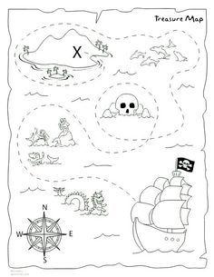 7 Best Images of Preschool Treasure Map Printable - Printable Pirate Treasure Map Template, Free Kids Printables Treasure Hunt Map and Preschool Treasure Map X Marks the Spot Pirate Treasure Maps, Pirate Maps, Pirate Theme, Treasure Hunt Map, Pirate Activities, Pirate Crafts, Printable Maps, Free Printable, Printables