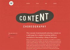 Content Choreography