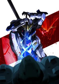 Blood Orphans, Gundam Iron Blooded Orphans, Gundam Art, Custom Gundam, Mecha Anime, Mobile Suit, Manga, Artwork, Fictional Characters