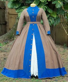 ORIGINAL CIVIL WAR ERA DAY DRESS/WRAPPER c.1860s LG SIZE FOR EASY DISPLAY in Clothing, Shoes & Accessories, Vintage, Women's Vintage Clothing, Pre-1901 (Victorian & Older) | eBay