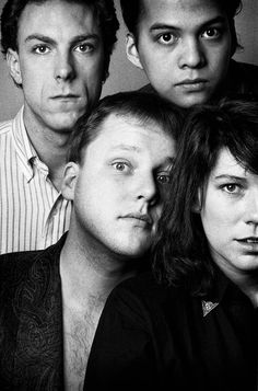 Pixies in a promotional picture from David Lovering and Joey Santiago in the back, Black Francis and Kim Deal in the front. Pixies Band, Black Francis, 90 Songs, A Perfect Circle, European Tour, News Studio, Rock Legends, Kim Deal, Post Punk