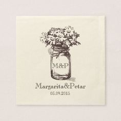 Mason Jar Personalized Wedding Napkin Paper Napki