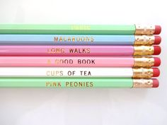A few of my favourite things - set of 6 pastel coloured pencils with gold foil print.