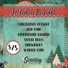 Scentsy's Holiday wax fragrance 2016 Bundle #christmascottage #icedpine…