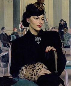Pauline Waiting, 1939 by Sir James Gunn. Nice outfit, wonderful treatment of the brooch at her neck. Mysterious... She looks both wistful and annoyed. Who is she waiting for? Will he come?