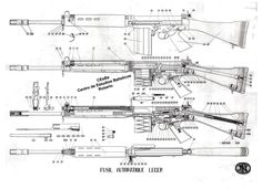 Shop for your Exploded View Drawing, FN FAL Light Automatic Rifle with Numrich Gun Parts - the world's largest supplier of gun parts. Weapons Guns, Airsoft Guns, Guns And Ammo, Rubber Band Gun, Battle Rifle, Shooting Guns, Patent Drawing, Military Guns, Assault Rifle