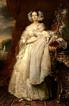 Helen, Duchess of Orleans, (nee Duchess of Mecklenburg Schwerin) wife of Ferdinand Philippe, and their son, Louis Philippe, the Count of Paris, 1839.  F.X. Winterhalter.