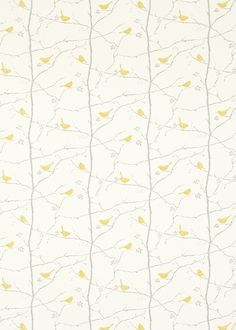 Dawn Chorus  (223597) - Sanderson Fabrics - An all over fabric featuring a simple silhouette pattern showing finches perched on branches. Shown here in linden and slate. Other colourways are available. Please request a sample for a true colour and texture match.