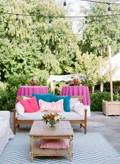 Cozy summer lounge area: http://www.stylemepretty.com/2016/06/22/whimsical-new-england-barn-wedding/   Photography:White Loft Studio - http://whiteloftstudio.com/