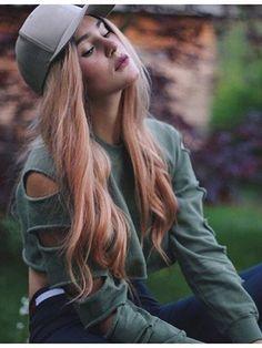 Army Green Cut Out Sleeve Sweatshirt