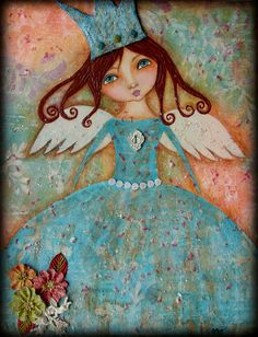 My all time favorite Mixed media Folk art piece. I donated the original to a Children's Museum for a silent auction.