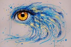 Svenja Jodicke adds bird feathers to this watercolor painting of a golden eye