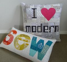 I wish I could swing by the quilt shop in Oregon that is teaching a class about creating these cool text quilts!