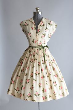 Vintage 1950s Dress / 50s Silk Dress / Cream by TuesdayRoseVintage