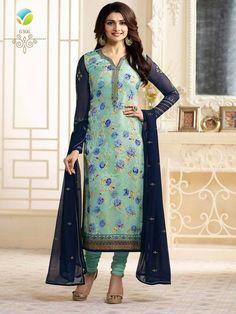eaf76f3b21 Blue Brasso Straight Prachi Desai Vinay Suit Price Rs. 2,250.00 | $44.58  CAD | $34.69