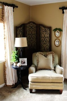 Nicely Decorated Reading Nook - The screen pulls everything together.