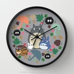Totoro Catbus Soot Sprite Wall Clock in Natural Wood, Black, or White Frame Blue Grey White Anime Manga Troll Hayao Miyazaki Studio Ghibli