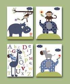 Childrens Art Kids Wall Art Baby Boy Room Decor Baby Boy Nursery kid art Baby Nursery print set of 4 8x10 elephant giraffe hippopotamus blue