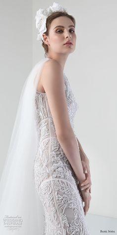 basil soda 2017 bridal sleeveless jewel neck full embellishment elegant gorgeous sheath wedding dress with tulle cape (7) zv -- Basil Soda 2017 Wedding Dresses