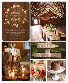 This inspiration board's theme is for the couple who can't wait to celebrate their wedding in natural surroundings. Warm hued flowers and rustic, woodsy accents are brought to life when highlighted by twinkling lights and the glow of candles.