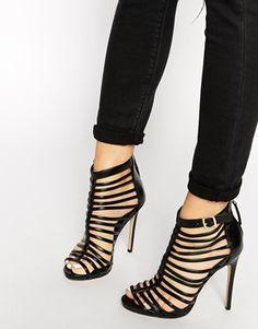 Agrandir New Look - Teaser - Sandales à talons effet cage style spartiates - Noir