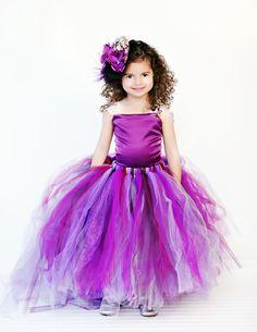 Tutu Flower Girl Dress, Purple, Plum w Detachable Train --Two Piece. $165.00, via Etsy.