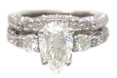 MINE!! 18k white gold pear shape diamond engagement ring and band antique deco 1.15ctw. $2,729.00, via Etsy.