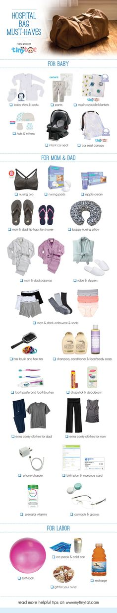 baby must haves Hospital Bag Must-Haves! The last thing you want to do when you go into labor is think about what you need to bring with you to the hospital! Take a look at these great must-haves to be prepared for the big day! Baby Must Haves, Baby On The Way, Baby Kind, Hospital Bag For Mom To Be, Hospital Bag For Baby, My Bebe, Wie Macht Man, Preparing For Baby, Prepare For Labor