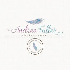 Feather Logo Design Watercolor Logo by stylemesweetdesign on Etsy