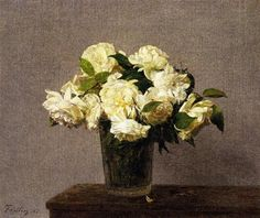 White Roses in a Vase - Henri Fantin-Latour