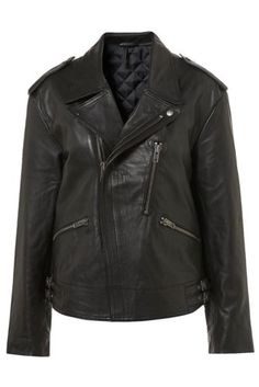 TOPSHOP OVERSIZE 100% REAL LEATHER BIKER JACKET £225 UK14/EUR42/US10