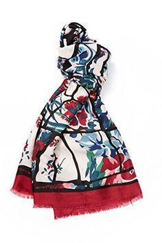 Grand Foulard Écharpe Fantaisie Multicolore Coton/Viscose, avec Motif Abstraits Effet Lin, Finition Franges, Blanc Rouge: Tweet DESCRIPTION…