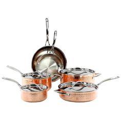 Oneida 10 Piece Hammered Cookware Set & Reviews   Wayfair Copper Tray, Copper Lamps, Hammered Copper, Copper Cookware Set, Cuisinart Cookware, Copper Kitchen Accessories, Copper Handles, Diy Kitchen Storage, Kitchen Sets