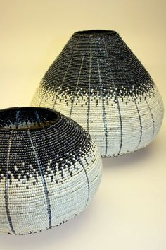 These baskets are made with tiny glass beads, if you look closely enough, Streetwires  - via handyemagazine.com