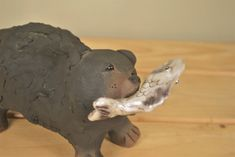 Pottery Bear with Salmon Sculpture. Handmade Studio Pottery Animal Figurine. Great Gift or Home Decor. by GoldenGully on Etsy