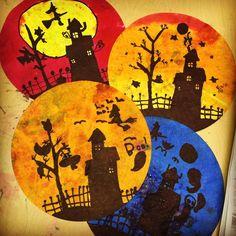 Haunted House Silhouettes. Jumbo coffee filters, black marker, liquid watercolors. #halloween #sharpie #silhouette
