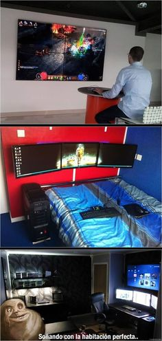 The Perfect geek room right? NOT, this is a useless Millennials room! Mom wants her basement back! Gaming Room Setup, Gaming Desk, Pc Setup, Desk Setup, Gaming Rooms, Room Ideias, Geek Room, Video Game Rooms, Game Room Design