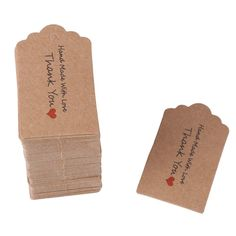 Healifty 100pcs Kraft Hanging Tags with String Thank You Printing Gift Tags Wedding Party