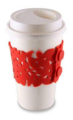 Ceramic Cup With Silicon Sleeve Set Of 4 Red Tea
