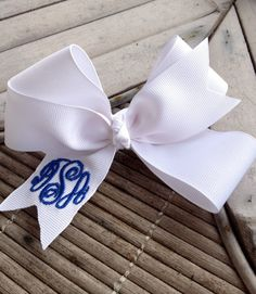Boutique Style Monogram Hair Bow.  via Etsy.
