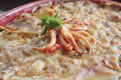 Lasagna con sfoglia di farro al basilico e prezzemolo farcita con melanzane e calamari #food #laprovadelfarro