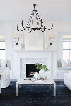 Scandinavian Fireplace, White Fireplace, Fireplace Design, Classic Fireplace, Fireplace Mantel, Fireplace Ideas, Fireplace In Dining Room, Fireplace With Built Ins, Fireplace Between Windows